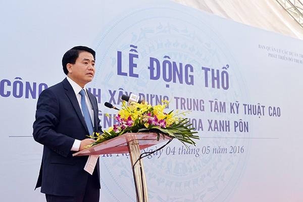 Chủ tịch UBND TP Hà Nội Nguyễn Đức Chung phát biểu tại Lễ động thổ