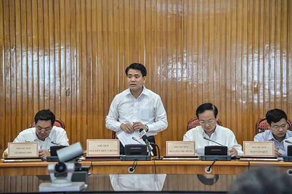 Chủ tịch UBND TP Hà Nội Nguyễn Đức Chung phát biểu kết luận hội nghị