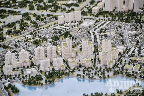 Những khu đô thị, toà nhà hiện đại xen kẽ rất nhiều cây xanh, hồ điều hoà