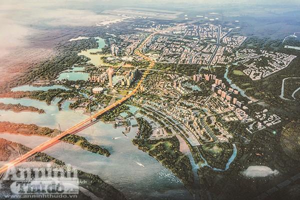 """Đồ án Quy hoạch chi tiết xây dựng hai bên tuyến đường Nhật Tân - Nội Bài được lập trên ý tưởng """"Rồng đón ngọc"""", tái hiện hình ảnh truyền thống Thăng Long - Hà Nội, xương sống là tuyến cao tốc từ sân bay về trung tâm thành phố, đầu Rồng quay về sông Hồng - Hồ Tây."""