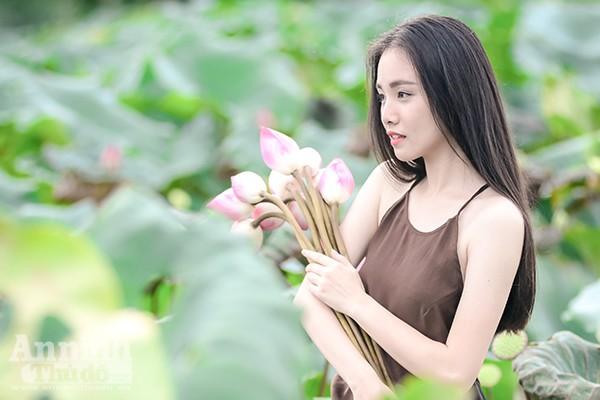 Thiếu nữ áo yếm Hà Thành e ấp giữa đầm sen ảnh 6