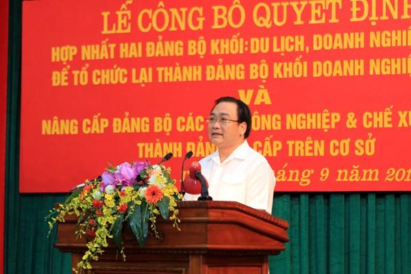 Bí thư Thành ủy Hà Nội Hoàng Trung Hải phát biểu chỉ đạo tại buổi lễ