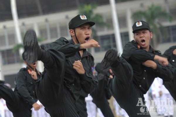 Xem Cảnh sát cơ động Hà Nội đánh võ, bắn súng điêu luyện ảnh 2