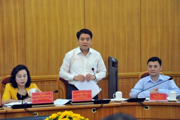 Chủ tịch UBND TP Hà Nội Nguyễn Đức Chung phát biểu tại buổi làm việc