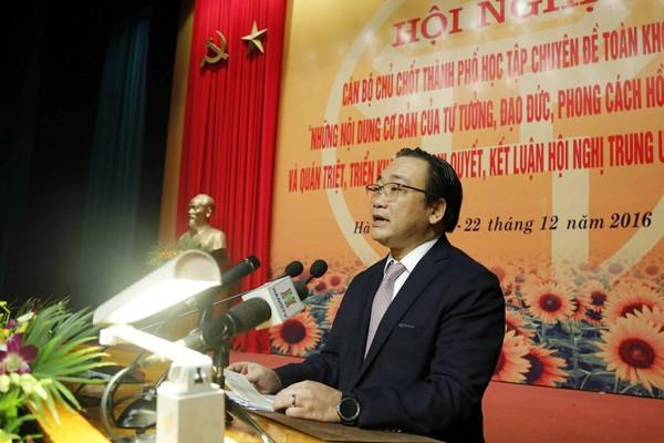 Bí thư Thành ủy Hà Nội Hoàng Trung Hải phát biểu khai mạc hội nghị