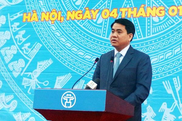 Chủ tịch UBND TP Hà Nội Nguyễn Đức Chung phát biểu tại buổi lễ