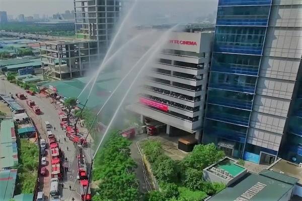 Diễn tập PCCC và cứu hộ cứu nạn ở nhà cao tầng ở Hà Nội