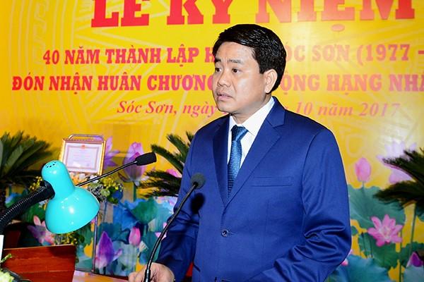 Chủ tịch UBND TP Nguyễn Đức Chung phát biểu tại buổi lễ