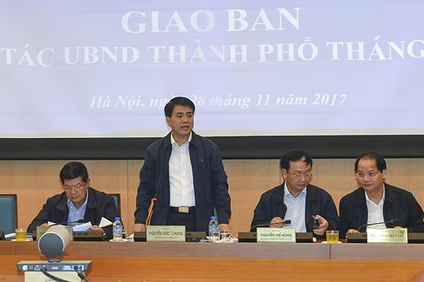 Chủ tịch UBND TP Hà Nội Nguyễn Đức Chung phát biểu tại hội nghị