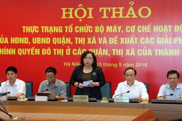 Chủ tịch HĐND TP Hà Nội Nguyễn Thị Bích Ngọc chủ trì hội thảo