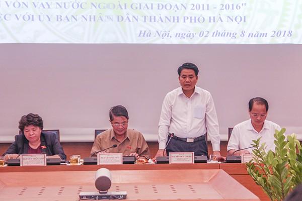 Chủ tịch UBND TP Nguyễn Đức Chung phát biểu tại buổi làm việc với Đoàn Giám sát của Ủy ban Thường vụ Quốc hội