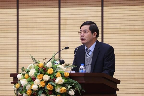Giám đốc Sở Nội vụ Trần Huy Sáng phát biểu tại hội nghị