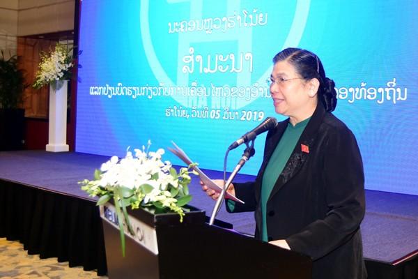 Phó Chủ tịch Thường trực Quốc hội Tòng Thị Phóng phát biểu tại hội thảo.