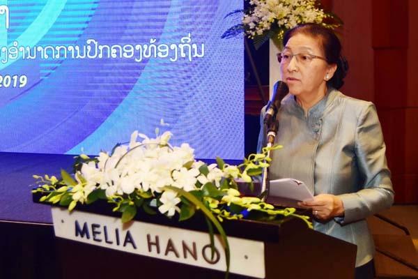 Chủ tịch Quốc hội nước CHDCND Lào Pany Yathotou phát biểu tại hội thảo