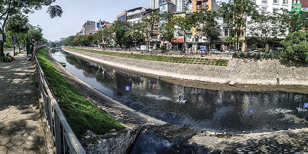 Đoạn sông Tô Lịch được thử nghiệm làm sạch bằng công nghệ Nhật Bản