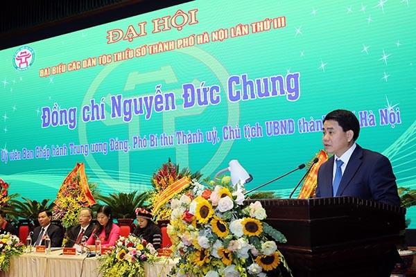 Chủ tịch UBND TP Nguyễn Đức Chung phát biểu tại đại hội