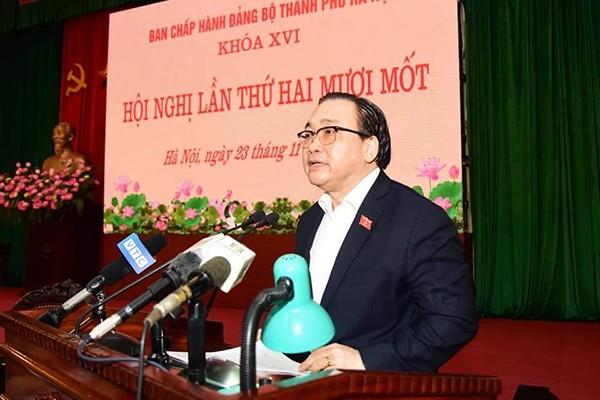Bí thư Thành ủy Hoàng Trung Hải phát biểu kết luận hội nghị