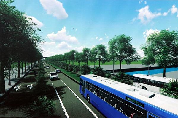 Phối cảnh tuyến đường Tây Thăng Long đoạn từ đường Phạm Văn Đồng đến đường Văn Tiến Dũng