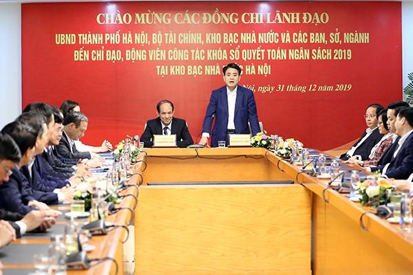 Chủ tịch UBND TP Nguyễn Đức Chung phát biểu tại buổi làm việc với Kho bạc Nhà nước TP Hà Nội