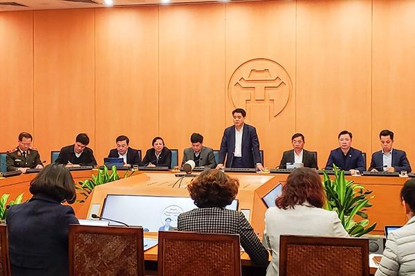 Chủ tịch UBND TP Nguyễn Đức Chung phát biểu chỉ đạo tại hội nghị