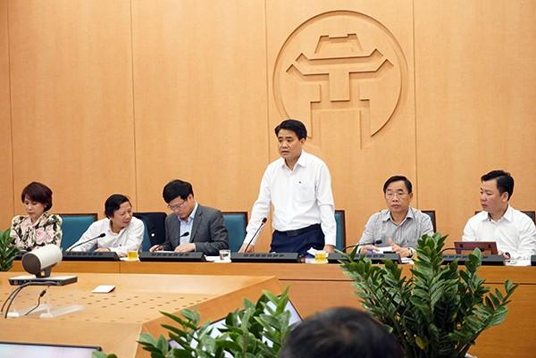 Chủ tịch UBND TP Nguyễn Đức Chung phát biểu tại cuộc họp