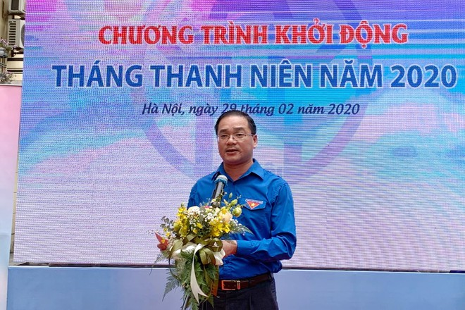 Bí thư Thành đoàn Hà Nội Nguyễn Ngọc Việt phát biểu tại chương trình