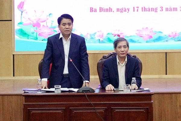 Chủ tịch UBND TP Nguyễn Đức Chung phát biểu tại buổi làm việc với quận Ba Đình