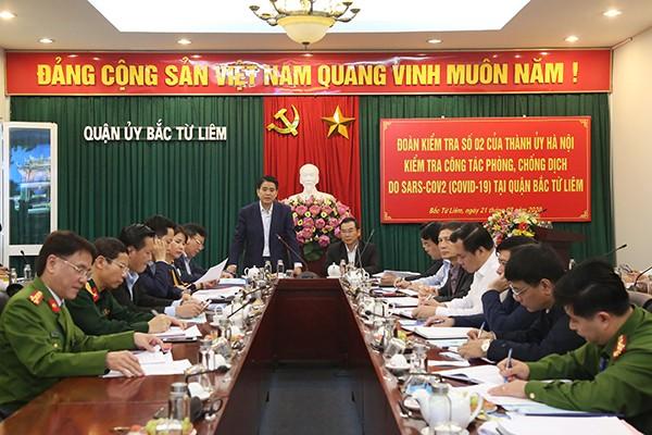 Chủ tịch UBND TP Nguyễn Đức Chung phát biểu tại buổi làm việc với quận Bắc Từ Liêm