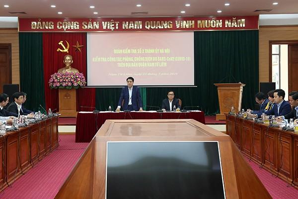 Chủ tịch UBND TP Nguyễn Đức Chung phát biểu tại buổi làm việc với quận Nam Từ Liêm