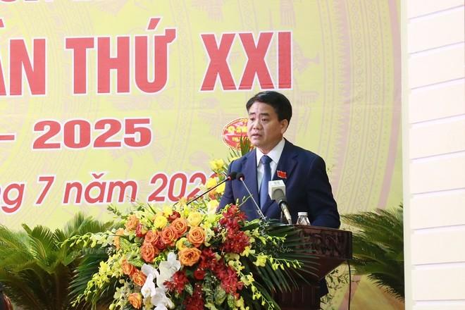 Đồng chí Nguyễn Đức Chung, Ủy viên Trung ương Đảng, Phó Bí thư Thành ủy, Chủ tịch UBND TP phát biểu chỉ đạo tại đại hội
