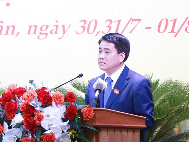 Đồng chí Nguyễn Đức Chung, Ủy viên Trung ương Đảng, Phó Bí thư Thành ủy, Chủ tịch UBND TP Hà Nội phát biểu chỉ đạo tại đại hội