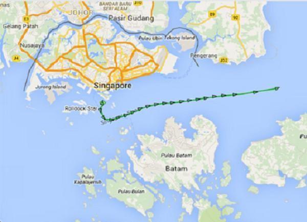 Vị trí tàu Rolldock Star rời Singapore sáng 26-1 trên trang marinetraffic.com