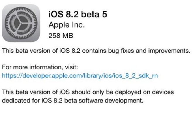 Apple tung ra iOS 8.2 beta 5, Iphone vẫn bị lỗi kết nối