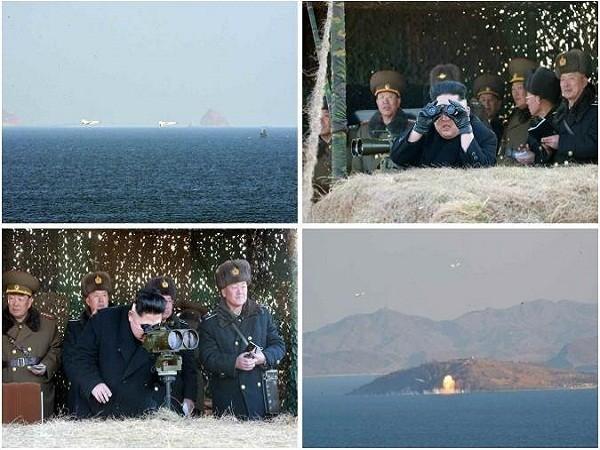 Ông Kim Jong-un và tướng lĩnh, chỉ huy quân đội thị sát một cuộc diễn tập của quân đội Triều Tiên