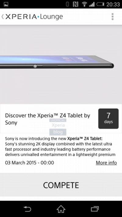 Lộ diện máy tính bảng Sony Xperia Z4 trước thềm MWC 2015