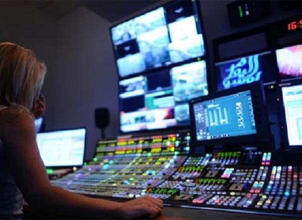Trong một phòng phát sóng của Đài phát thanh và Truyền hình Ukraine
