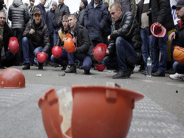Các công nhân ngành than Ukraine biểu tình bên ngoài phủ tổng thống ở Kiev