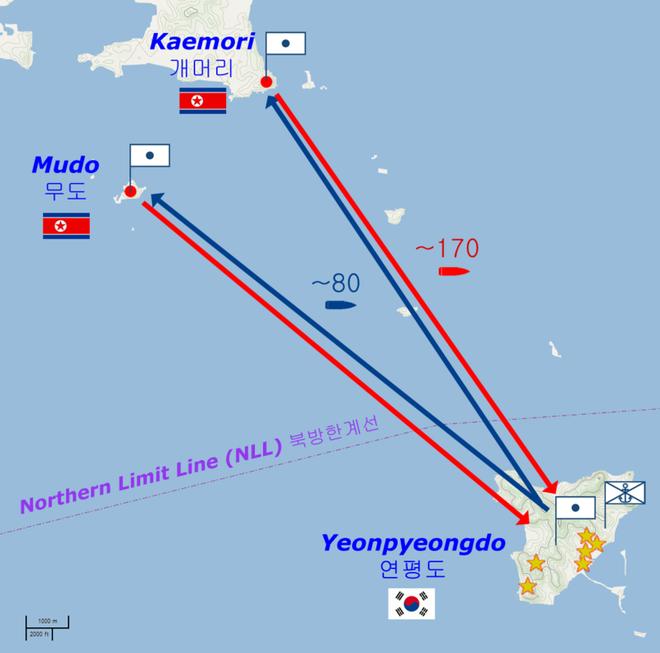 Bản đồ mô tả vụ pháo kích đảo Yeonpyeong (Màu đỏ do phía Triều Tiên bắn, màu xanh do phía Hàn Quốc đáp trả)
