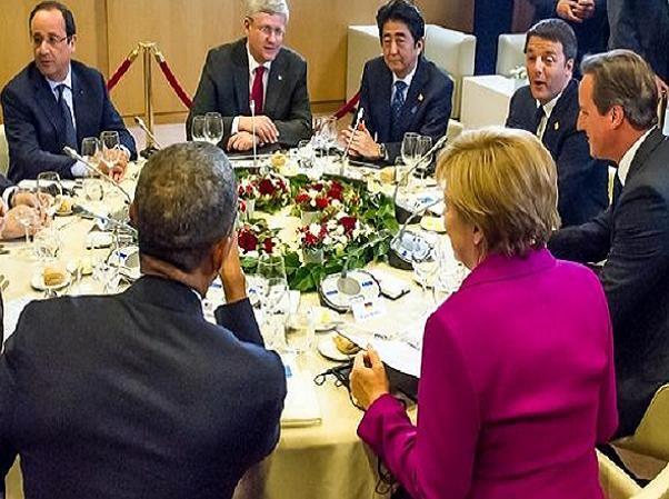 Các nhà lãnh đạo G7 trong Hội nghị thượng đỉnh tháng 6-2014