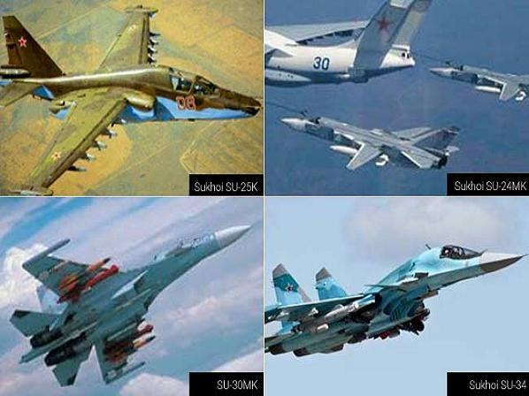 Một số máy bay chiến đấu của Nga được sử dụng trong các vụ không kích tại Syria