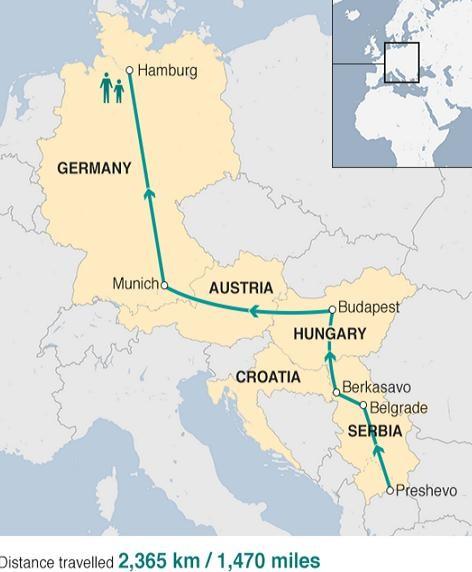 Con đường mà cậu bé Azam đã đi từ Syria sang Đức
