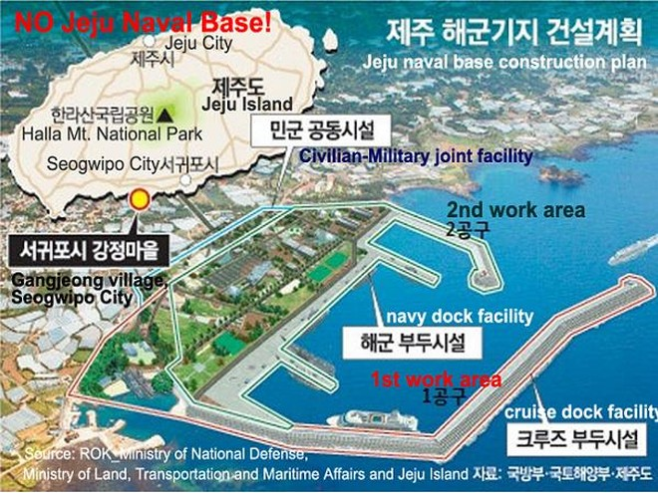 Sơ đồ căn cứ hải quân của Hàn Quốc được xây dựng trên đảo Jeju
