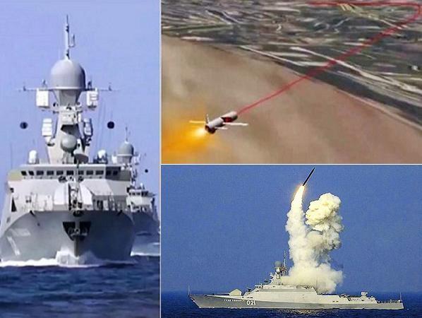 Biên đội tàu hộ vệ tên lửa Nga phóng tên lửa hành trình tiêu diệt các mục tiêu của tổ chức khủng bố Nhà nước Hồi giáo IS ở Syria
