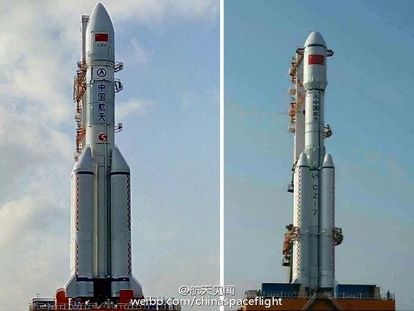 Tên lửa đẩy Trường Chinh 5 (trái) và Trường Chinh 7 của Trung Quốc