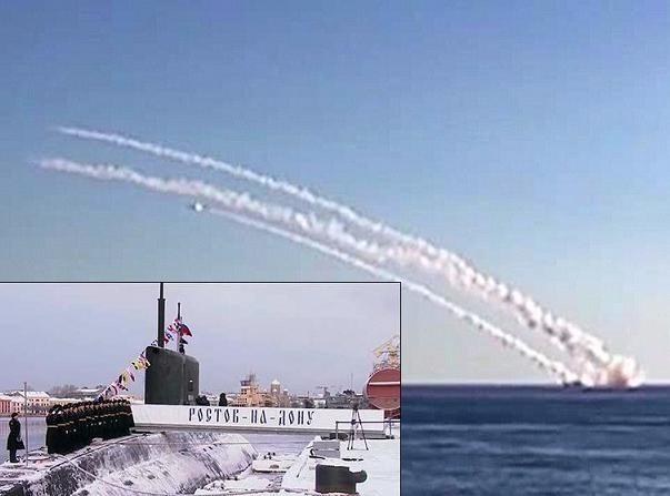 Tàu ngầm Kilo B-237 Rostov-on-Don của Hạm đội Biển Đen phóng tên lửa Kalibr vào các mục tiêu của tổ chức khủng bố Nhà nước Hồi giáo ở Raqqa-Syria