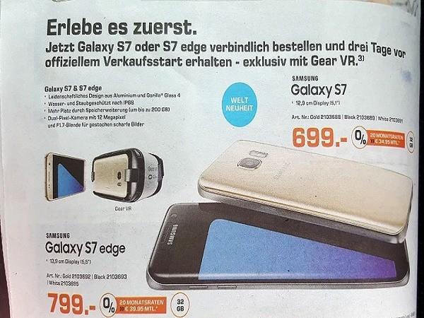 Rò rỉ giá bán Samsung Galaxy S7 và S7 edge? ảnh 2