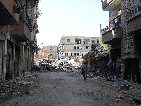 Một góc thành phố Damascus bị tàn phá trong cuộc nội chiến tại Syria