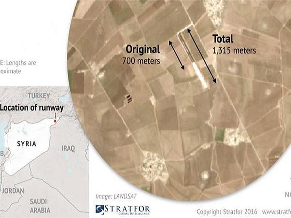 Vị trí sân bay được không quân Mỹ xây dựng ở miền bắc Syria