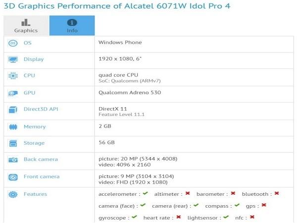 Alcatel Idol 4 Pro sở hữu cấu hình khủng ảnh 1