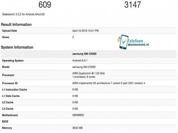 Lộ diện dòng điện thoại mới của Samsung SM-C5000 ảnh 1
